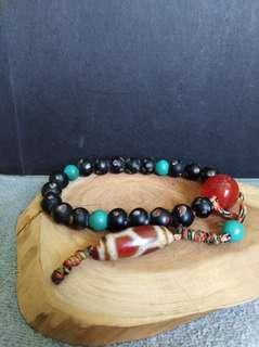 非洲琉璃手串加天珠(龜甲壽珠)