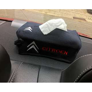 CITROEN CAR TISSUE PAPER BOX DECOR COVER WITH EMBROIDERED LOGO- FREE MAIL DELIVERY - FIT MOST TISSUE BOX IN SG- (Dimension Of Cover Is L=24cm B=12.5cm H=9.5cm)