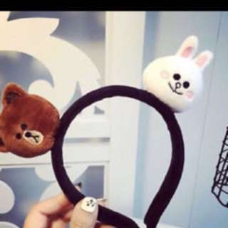 line bear hairband