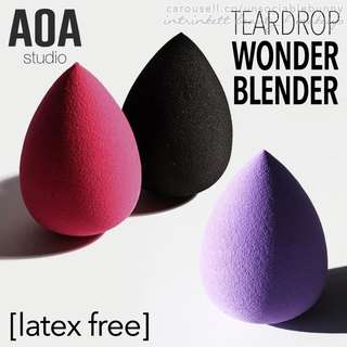 Teardrop Blending Sponge Wonder Blender AOA Studio Cruelty-free US Cosmetic Makeup Tool - 3 colours