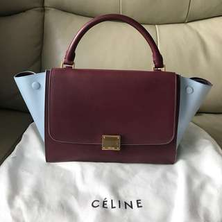 Celine trapeze bag small size (粉藍紅酒色)chanel ysl