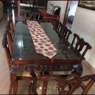 Carving teak table ( meja makan ukir ) , 8 kursi