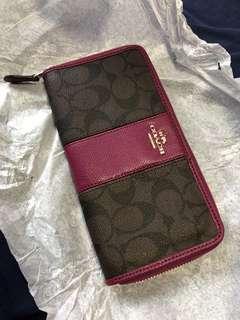 Coach long zip wallet
