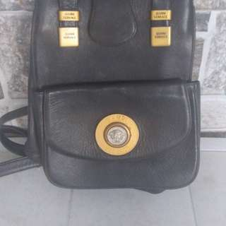 1980s gianni versace black leather converted backpack and shoulder
