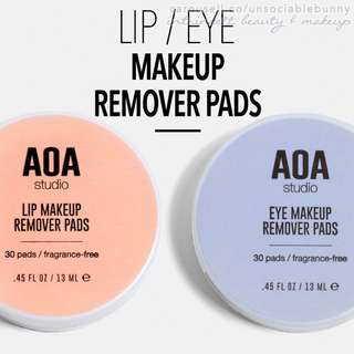 🆕 EYES/LIPS Makeup Remover Wipes Travel-Friendly Vegan US AOA Studio Cruelty-free Cosmetic Makeup. 2 types