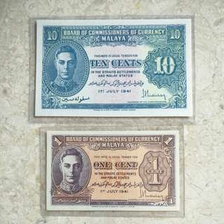 2 PCS 1941 MALAYA KING GEORGE VI 1 & 10 CENTS BANKNOTES
