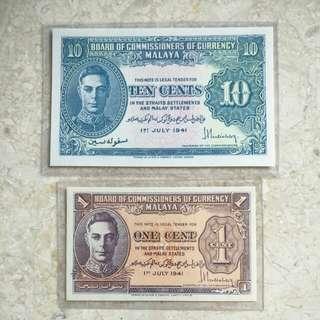 2 PCS 1941 MALAYA KING GEORGE VI 1 & 10 CENTS BANKNOTES