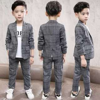 7-8 age boy's formal party plaid jacket suit