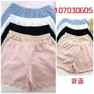 [107030605]素色簍空花邊安全褲(可外穿)