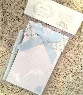 Charity Sale! Treasures by Shabby Chic Notepad and Pen 100 sheets