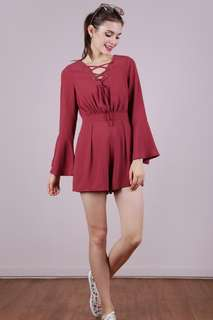 TTR The Tinsel Rack Syd Lace Up Romper (Dusty Crimson)
