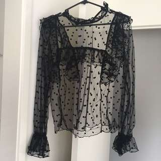 Slide Show Mesh Polka Dot Top