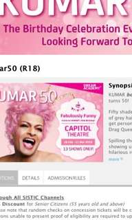 Looking for: 1 pair of Kumar50 tickets on 6 or 7 Mar