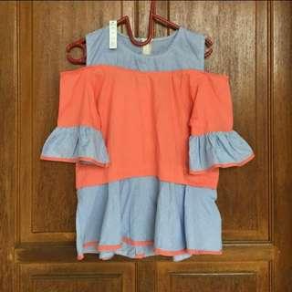 Cut off/cut out/off shoulder/casual blouse/atasan orange