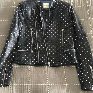 Each x Other navy polka dot leather jacket