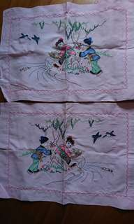 Pair of vintage hand embroidery pillow case