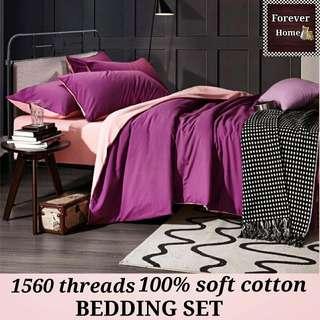 全新升級柔膚棉1560針, $140起購買床單寢具套裝, 一套包括(床笠, 被套, 枕套) - 款式S6