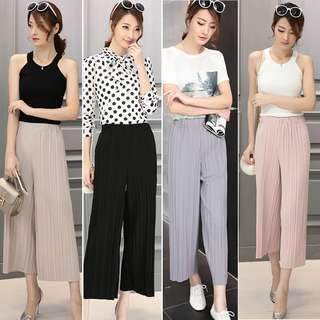 Chiffon Loose Long Pants High Waist Pleated Wide-leg Trousers
