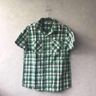 Semir Green Checkered Polo Medium