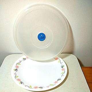 USA康寧CORELLE  10吋玻麗V瓷平盤(含蓋)