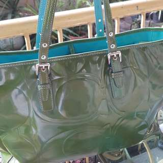 Coach patent tote bag