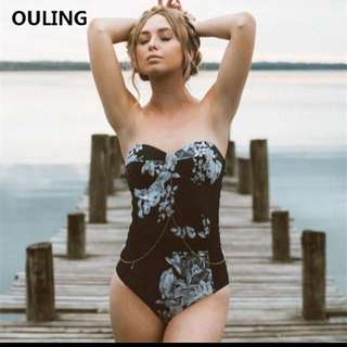 High Waisted Push Up Swimwear Women One Piece Plus Size Swimsuit XL Strapless Padded Bodysuit High Quality Floral Bathing Suit