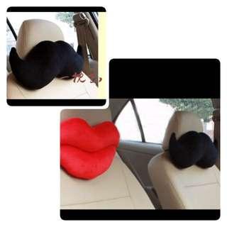 2pcs of black Moustache Car Neck Pillow