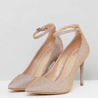 New KG by Kurt Geiger David Jones glitter Nude pink evening dress heels $220 36 5 5.5