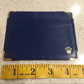 Rare Blue Rolex Watch Compact Genuine Calf Leather Credit Card Cum Notes Holder Unused Old Stock Made In Switzerland
