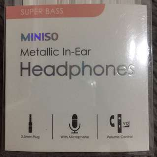 MINISO Metallic Earphones Super Bass Rose Gold