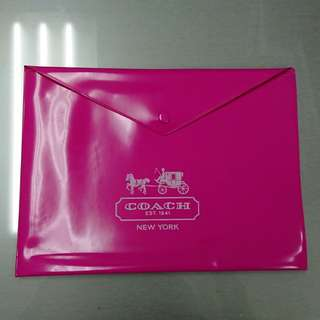 COACH pink plastic folder bag