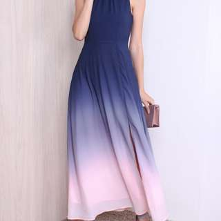 Ombre Maxi Dress - Navy blue pink