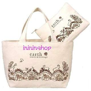 全新日本品牌 earth music & ecology 帆布袋 tote bag & 小物包 散紙包