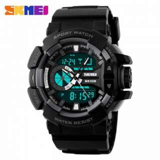 SKMEI AD1117 ALL BLACK RESIN STRAP WATCH FOR MEN - COD FREE SHIPPING