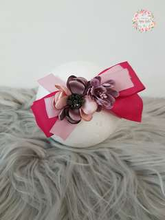 Pink bow with flower headband