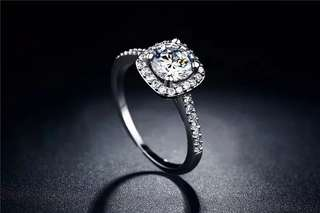 Sliver Crystal Cubic Zirconia Ring