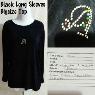 Black Long Sleeves Bigsize Top | Pakaian Wanita | Atasan Import