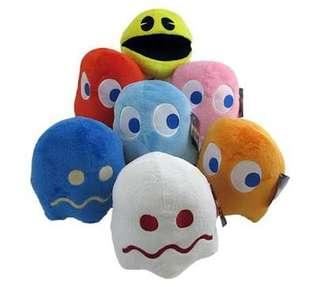 BNWT Original Pacman BANDAI Japan Plush Toy Beanie in Pink & Blue