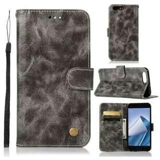 華碩Asus Zenfone 4 ZE554KL復古灰色電話皮套 保護套 保護殼 連電話繩