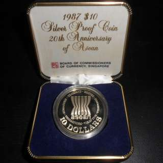 1987 Singapore 20th Anniversary of Asean $10 Silver Proof Coin