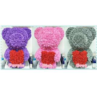 Muimui Romantic handcraft Gift Teddy Bear Rubber Flower 3 Colour
