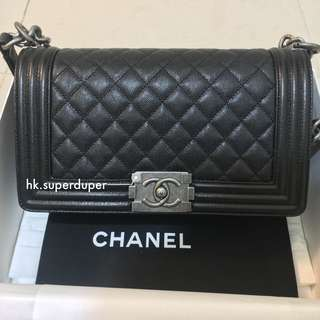 CHANEL BOY BLACK CAVIAR MEDIUM