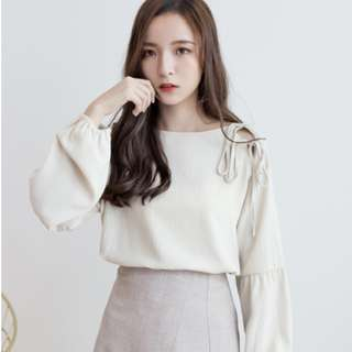 (PO) Chiffon Long-sleeve Loose Bow Blouse