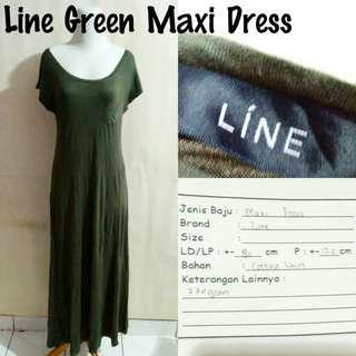 Line Green Maxi Dress | Pakaian Wanita | Terusan Import