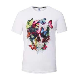 骷顱頭 蝴蝶 短袖T恤 Tee