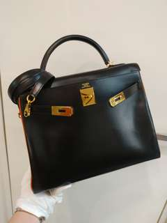 Hermes kelly 32 black*orange