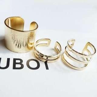 Gold knuckle ring set