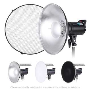 Pxel Beauty Dish Reflector w Honeycomb Grid Diffuser 22Inch 55cmBowen