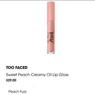 ❗️FLASH SALE❗️Too Faced Creamy Peach Lip Oil