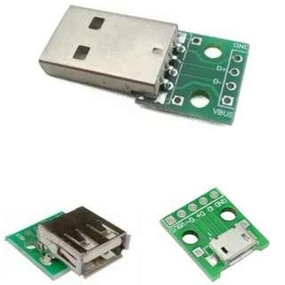 Micro USB Female USB Male Female 轉接板  電源模塊 面包板 DIY 機箱 Arduino esp8266  模型改裝 加LED  USB 供電必備
